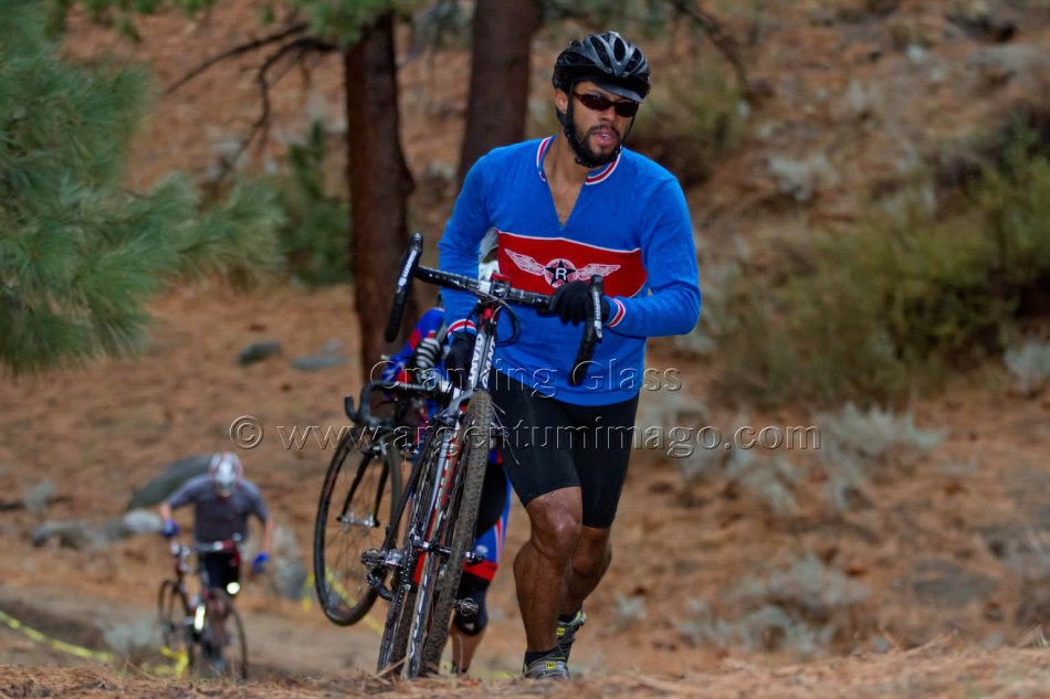 Joseph Togoan (Reno Wheelmen) on the Run-Up at Sagebrush Cyclocross Series