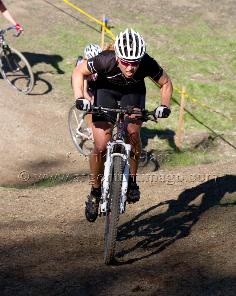 Helene Drumm struggled for traction her first lap on the big run up but had better going the rest of the race