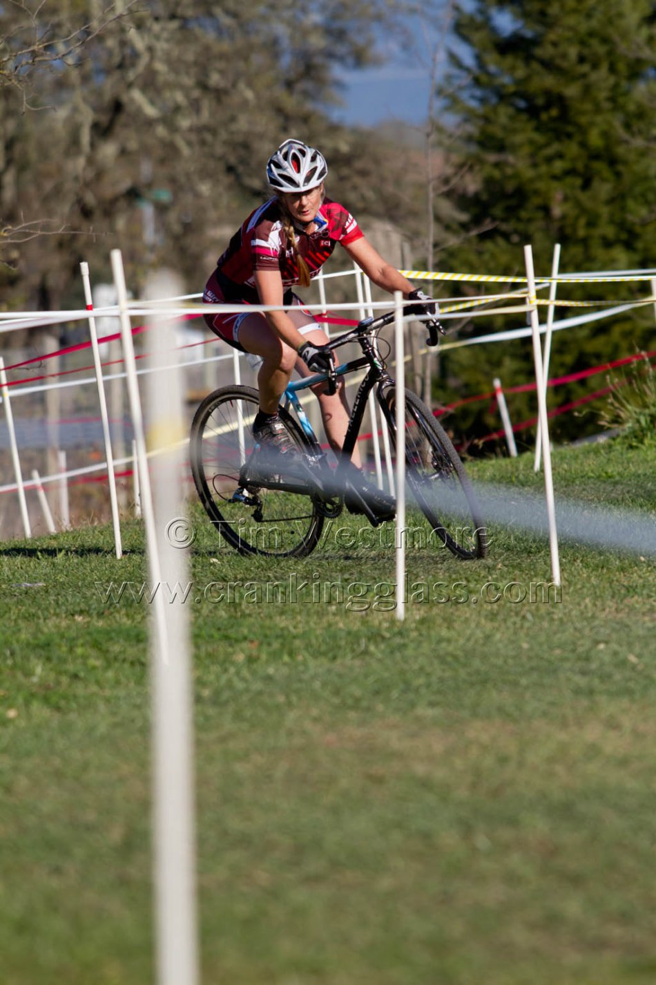 Michelle Nightingale in amongst the Santa Rosa Cup Course Tape