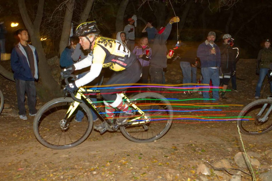 'Cross Under Lights, Lights on the Bike - this is Rodeo 'Cross