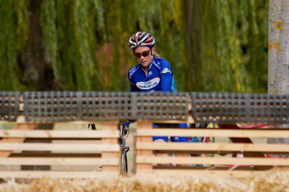 Still Cycling, Still Racing, Brems Approaches the Belgium Farm Wall at Stafford Lake