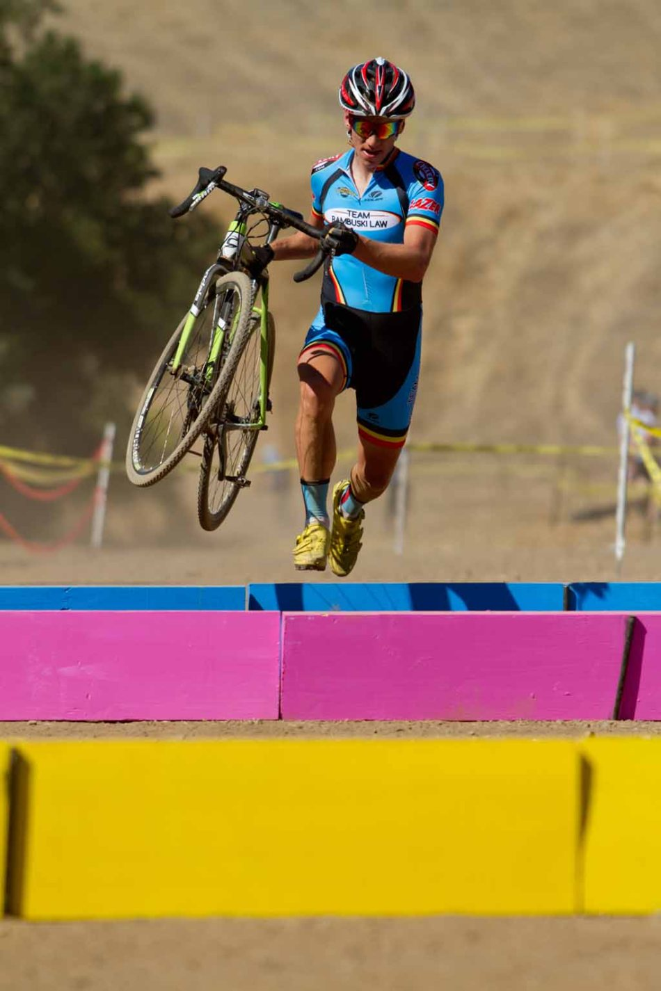 Team Rambuski Law Racer Keith Hillier and the Painted Plank-Barriers at San Jose Cougar (NCCX/SuprePro Racing)