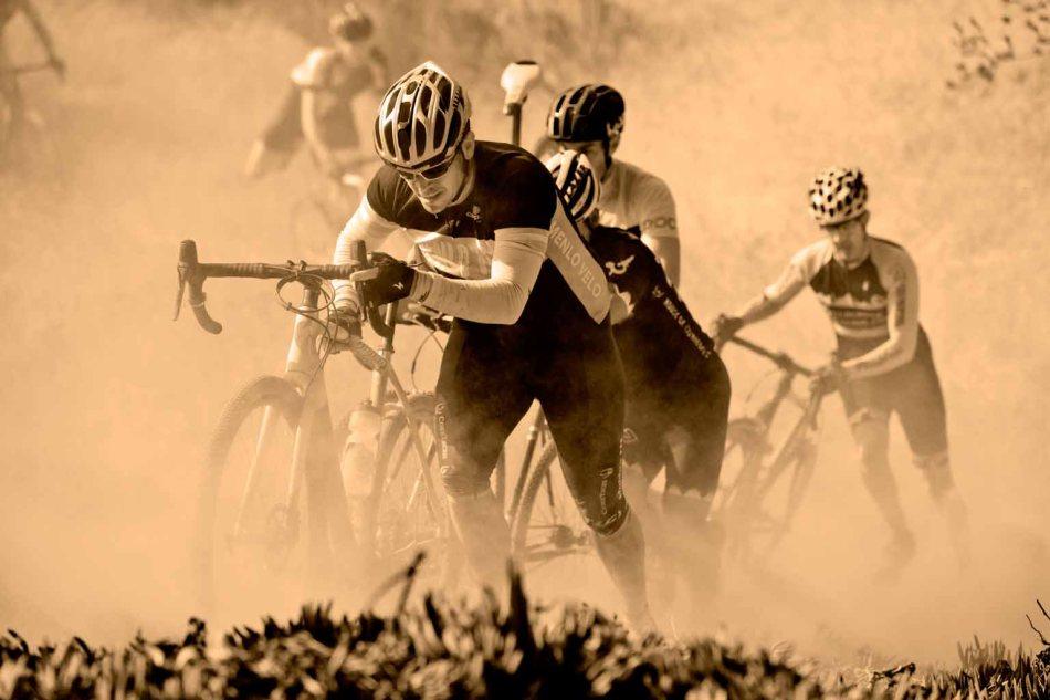 Christian Parker (Menlo Velo) enjoys playing in the dirt