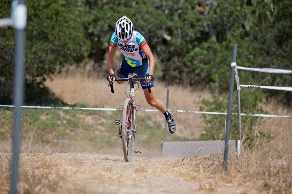 Cheryl Shwa (Team Mikes Bikes) in good form on her re-mount