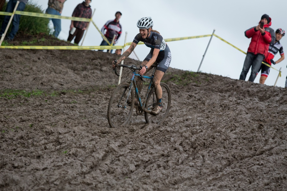Heather Pugh Revels on the Muddy Downhill