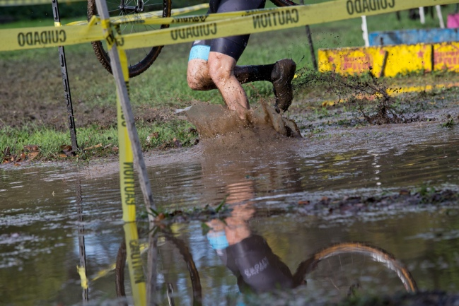 Muddy Racing Conditions Reflected in the Creek