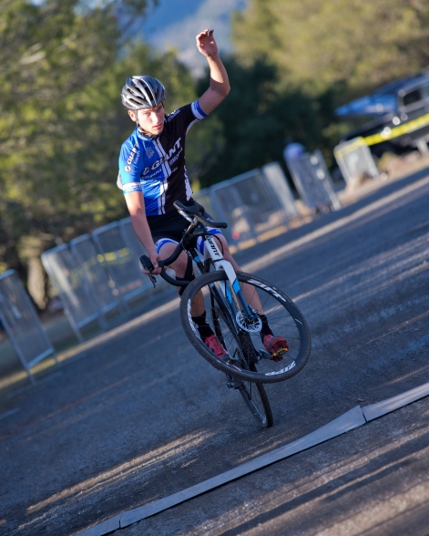 Gareth Haley Lifts his Front Wheel for Second Place